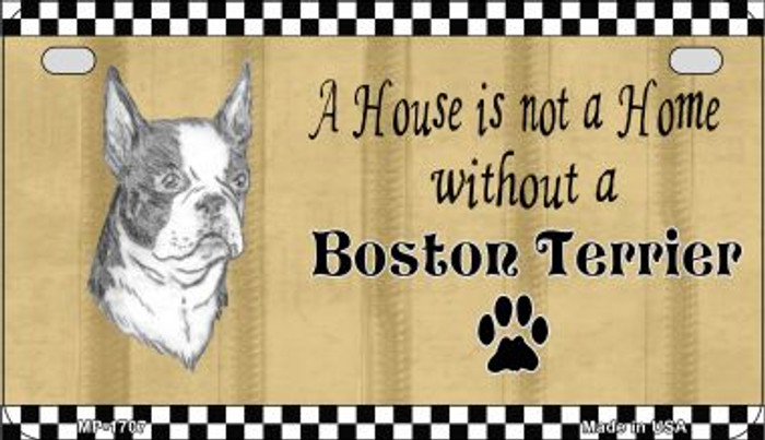 Boston Terrier Pencil Sketch Novelty Metal Motorcycle Plate MP-1707