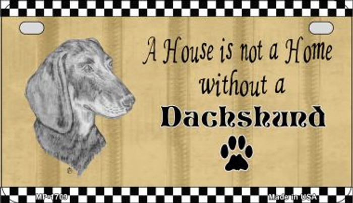 Dachshund Pencil Sketch Novelty Metal Motorcycle Plate MP-1709