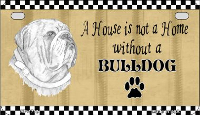 Bulldog Pencil Sketch Novelty Metal Motorcycle Plate MP-1712