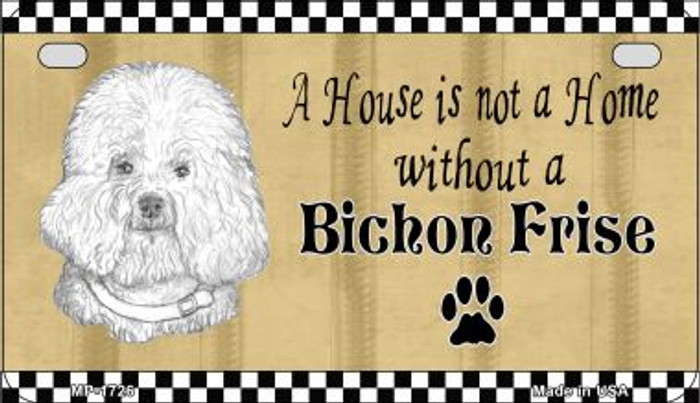 Bichon Frise Pencil Sketch Novelty Metal Motorcycle Plate MP-1726
