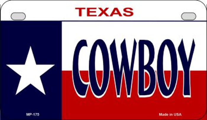 Cowboy Texas Novelty Metal Motorcycle Plate MP-175