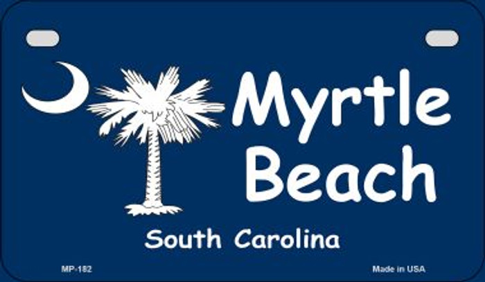 Myrtle Beach Blue Flag Novelty Metal Motorcycle Plate MP-182