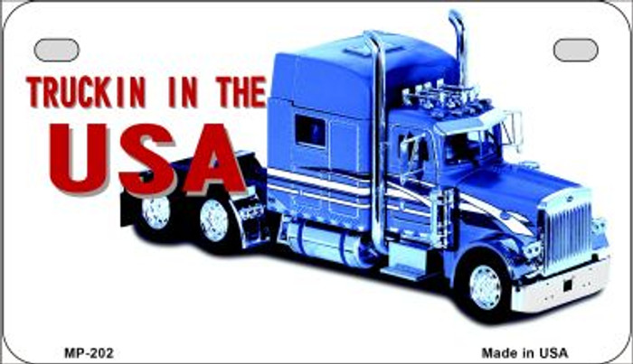 Trucking In The USA Novelty Metal Motorcycle Plate MP-202