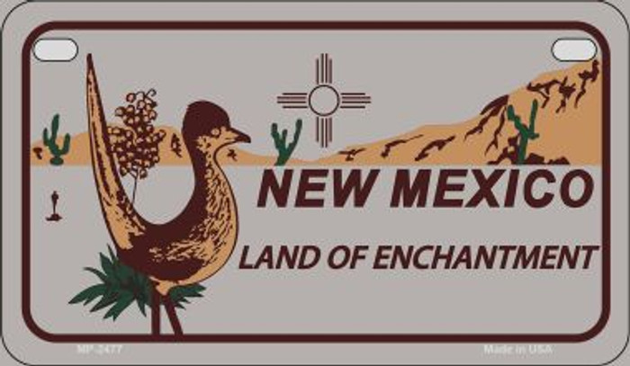 Roadrunner Gray New Mexico Novelty Metal Motorcycle Plate MP-2477