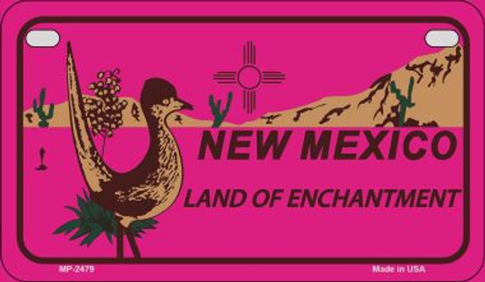 Roadrunner Pink New Mexico Novelty Metal Motorcycle Plate MP-2479