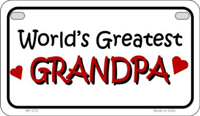 Worlds Greatest Grandpa Novelty Metal Motorcycle Plate MP-274