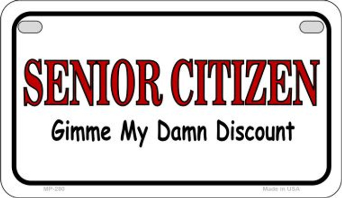 Senior Citizen Discount Novelty Metal Motorcycle Plate MP-280