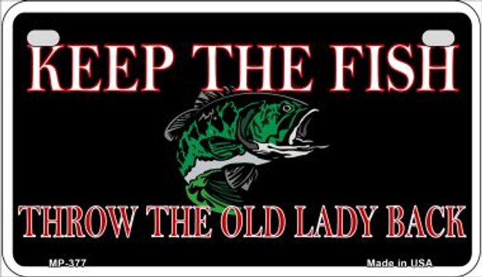 Keep the Fish Novelty Metal Motorcycle Plate MP-377
