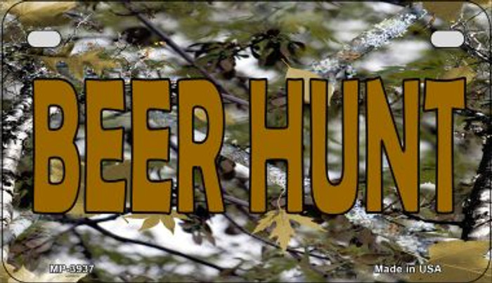 Beer Hunt Camouflage Novelty Metal Motorcycle Plate MP-3937