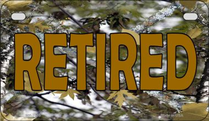 Retired Camo Novelty Metal Motorcycle Plate MP-3938
