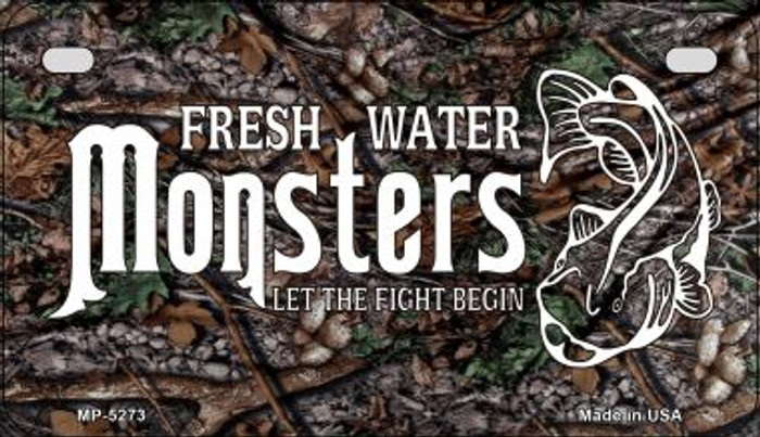 Fresh Water Monsters Novelty Metal Motorcycle Plate MP-5273