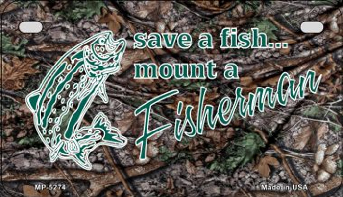 Save A Fish Novelty Metal Motorcycle Plate MP-5274