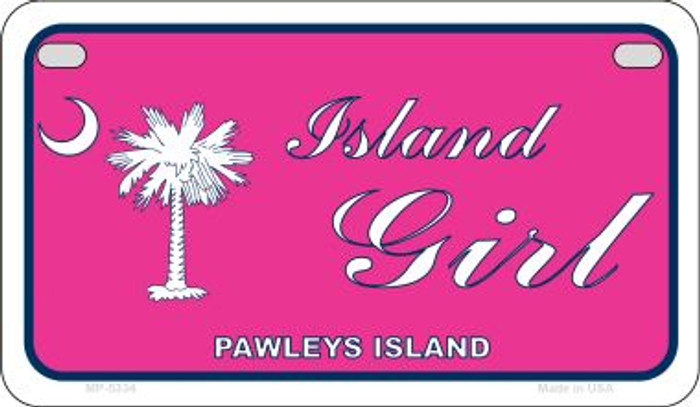 Island Girl Pink Flag Novelty Metal Motorcycle Plate MP-5334
