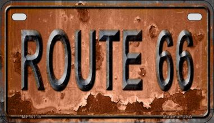 Route 66 Rusty Novelty Metal Motorcycle Plate MP-8115