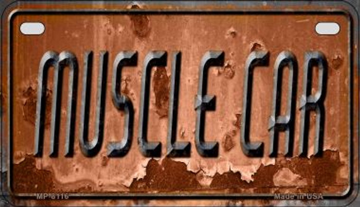 Muscle Car Rusty Novelty Metal Motorcycle Plate MP-8116