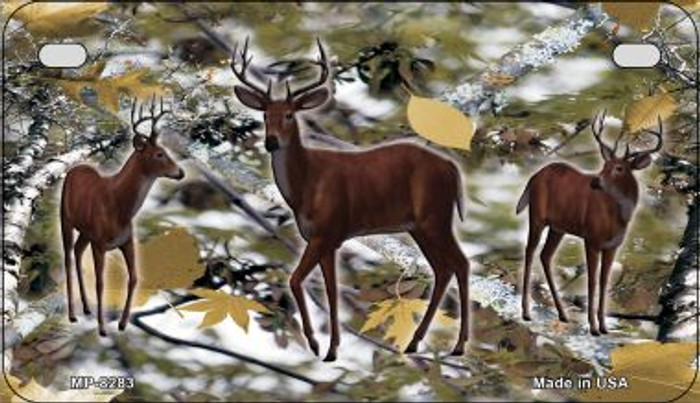 Deer on Camo Novelty Metal Motorcycle Plate MP-8283
