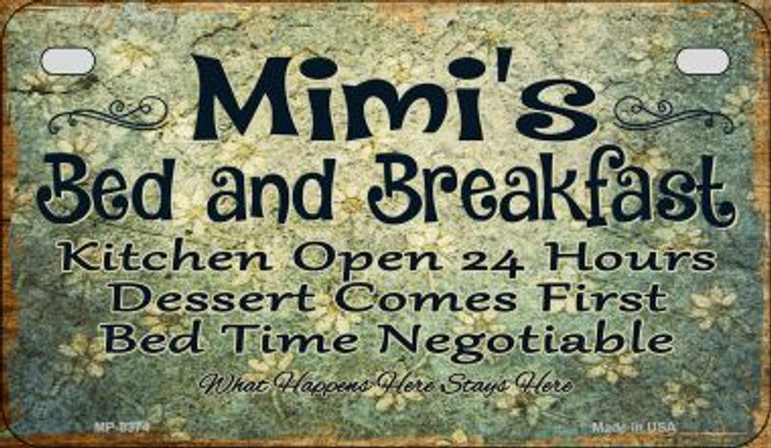 Mimis Bed and Breakfast Novelty Metal Motorcycle Plate MP-8374