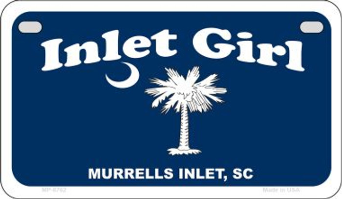 Inlet Girl Blue Flag Novelty Metal Motorcycle Plate MP-8762