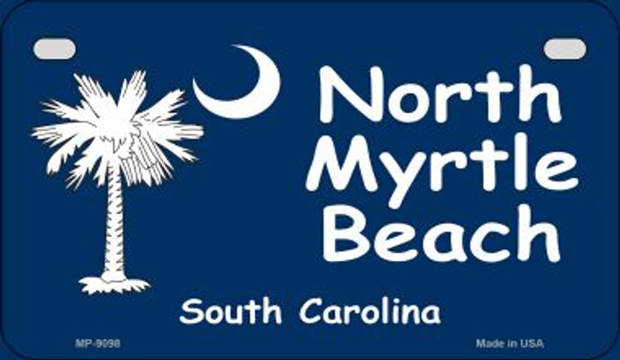 North Myrtle Beach Blue Flag Novelty Metal Motorcycle Plate MP-9098