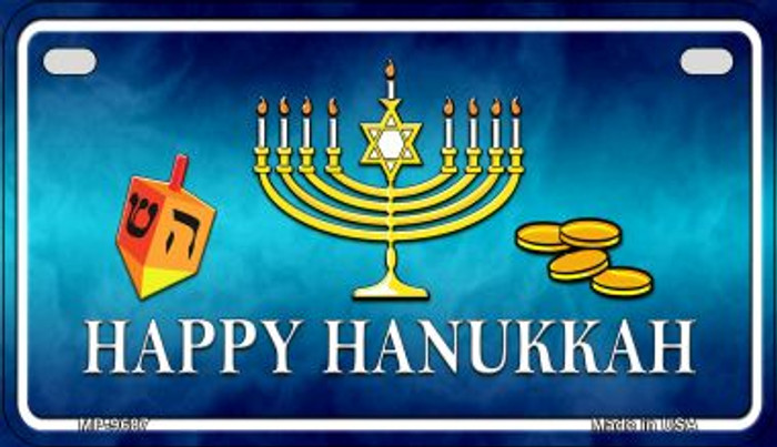 Happy Hanukkah Novelty Metal Motorcycle Plate MP-9687