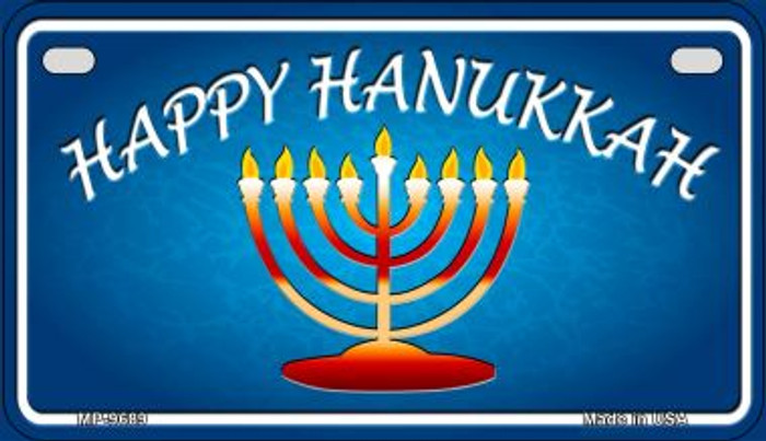 Happy Hanukkah Menorah Novelty Metal Motorcycle Plate MP-9689