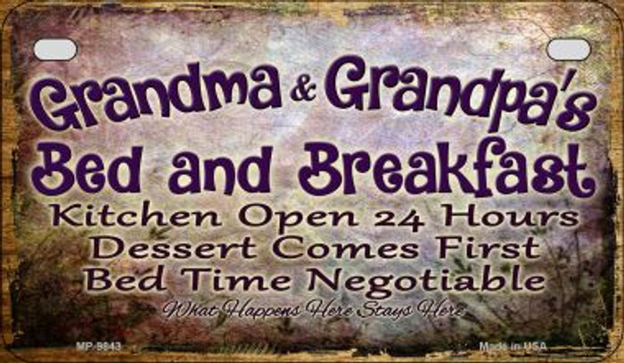 Grandmas and Grandpas Bed Novelty Metal Motorcycle Plate MP-9843
