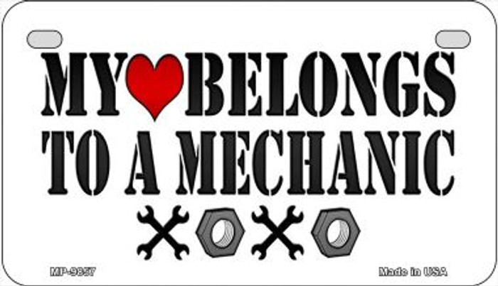 Heart to a Mechanic Novelty Metal Motorcycle Plate MP-9857