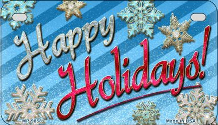 Happy Holidays Novelty Metal Motorcycle Plate MP-9858