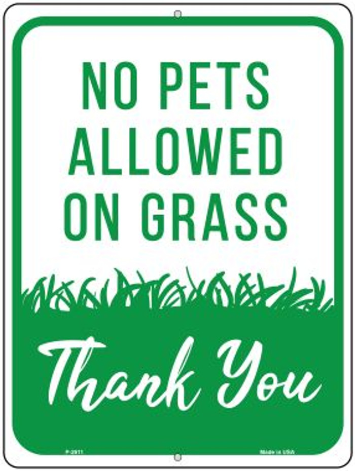 No Pets Allowed on Grass Wholesale Novelty Parking Sign P-2611