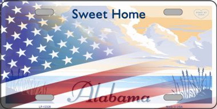 Alabama with American Flag Novelty Metal License Plate LP-12329