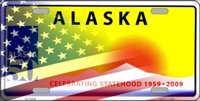 Alaska with American Flag Novelty Metal License Plate LP-12330