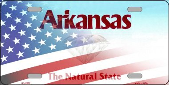 Arkansas with American Flag Novelty Metal License Plate LP-12332