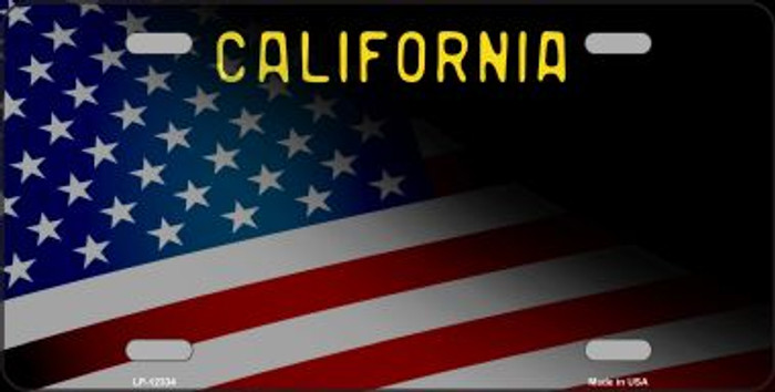 California with American Flag Novelty Metal License Plate LP-12333