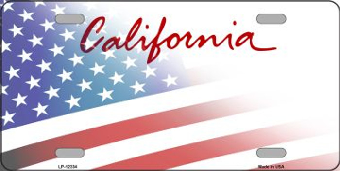 California with American Flag Novelty Metal License Plate LP-12334