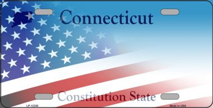 Connecticut with American Flag Novelty Metal License Plate LP-12336