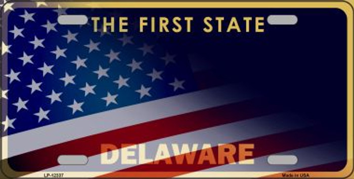 Delaware with American Flag Novelty Metal License Plate LP-12337