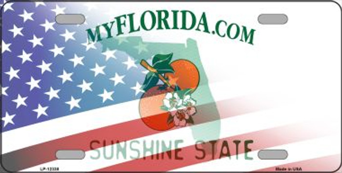 Florida with American Flag Novelty Metal License Plate LP-12338