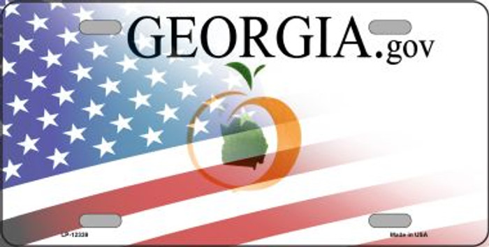 Georgia with American Flag Novelty Metal License Plate LP-12339