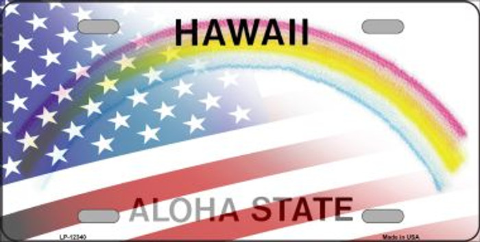 Hawaii with American Flag Novelty Metal License Plate LP-12340