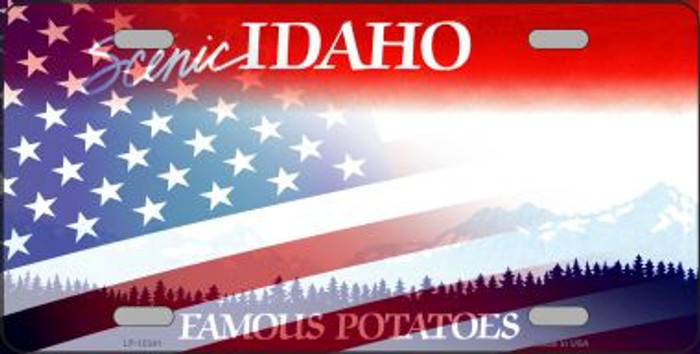 Idaho with American Flag Novelty Metal License Plate LP-12341