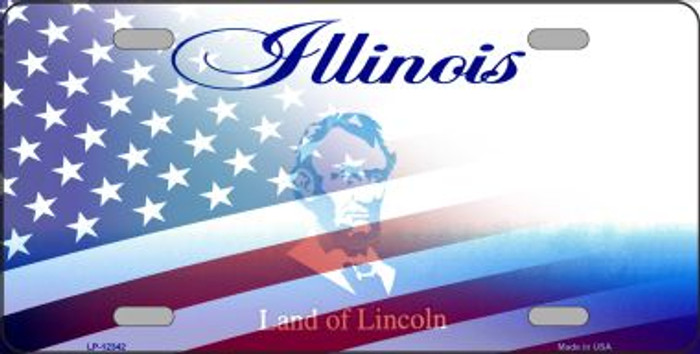 Illinois with American Flag Novelty Metal License Plate LP-12342