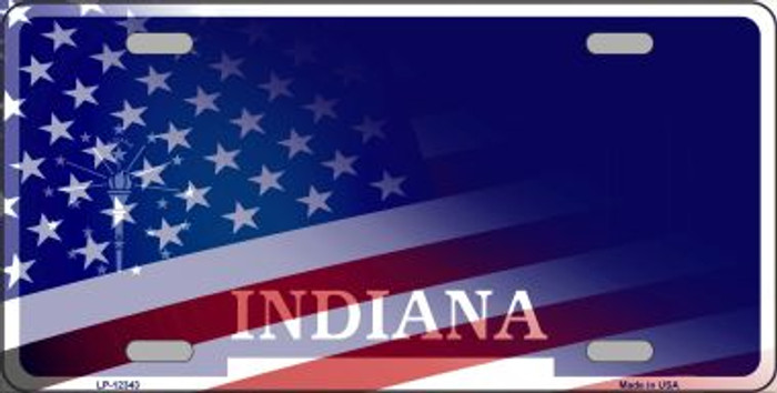 Indiana with American Flag Novelty Metal License Plate LP-12343