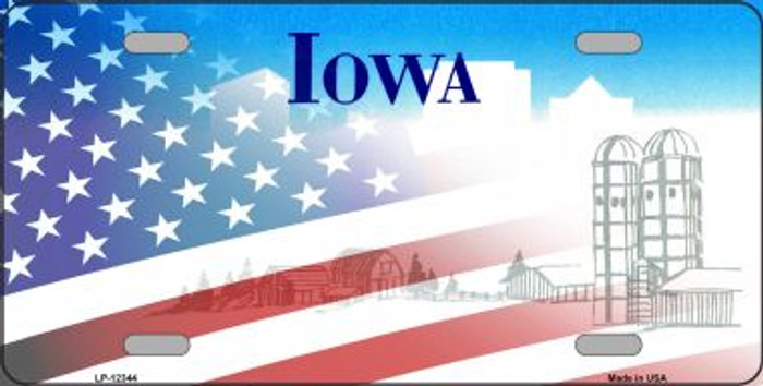 Iowa with American Flag Novelty Metal License Plate LP-12344