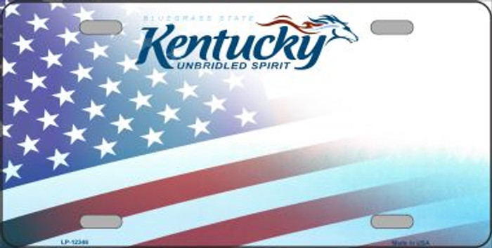 Kentucky with American Flag Novelty Metal License Plate LP-12346