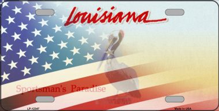 Louisiana with American Flag Novelty Metal License Plate LP-12347