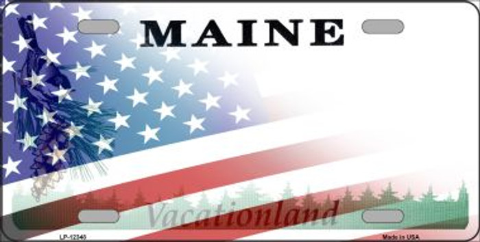Maine with American Flag Novelty Metal License Plate LP-12348