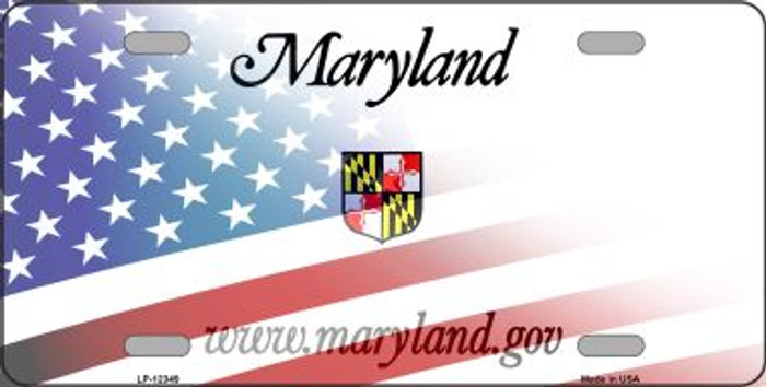 Maryland with American Flag Novelty Metal License Plate LP-12349
