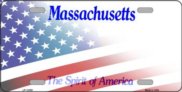 Massachusetts with American Flag Novelty Metal License Plate LP-12350