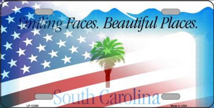 South Carolina with American Flag Novelty Metal License Plate LP-12369