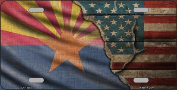 Arizona/American Flag Novelty Metal License Plate LP-12382